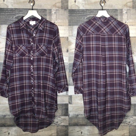 Everly Dresses & Skirts - Everly Button Up Plaid Shirt Dress with Pockets